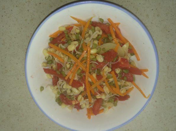 Салат с пророщенным машем, морковкой, помидорами и сладким болгарским перцем