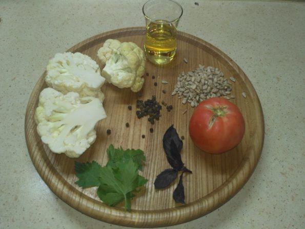 ингредиенты для цветной капусты с соусом