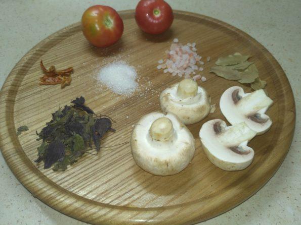 Ингредиенты для вегетарианского шашлыка из грибов