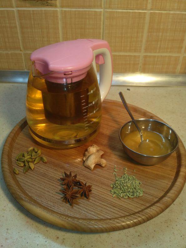 Чай с фенхелем, имбирем, бадьяном и кардамоном