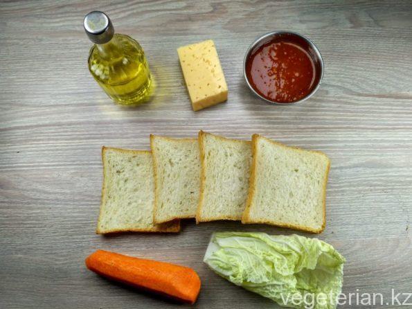 Ингредиенты для сэндвича с овощами