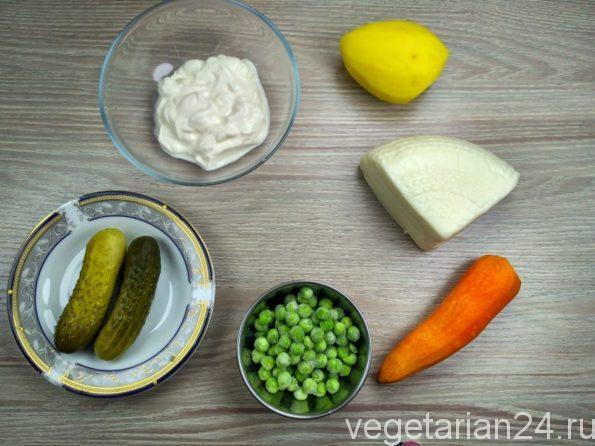 Ингредиенты для приготовления вегетарианского оливье