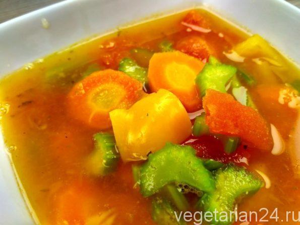 Суп из сельдерея, моркови и сладкого болгарского перца