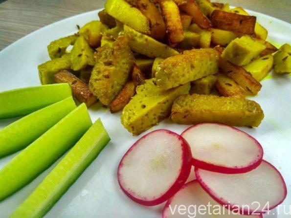 Жаренная картошка с сейтаном