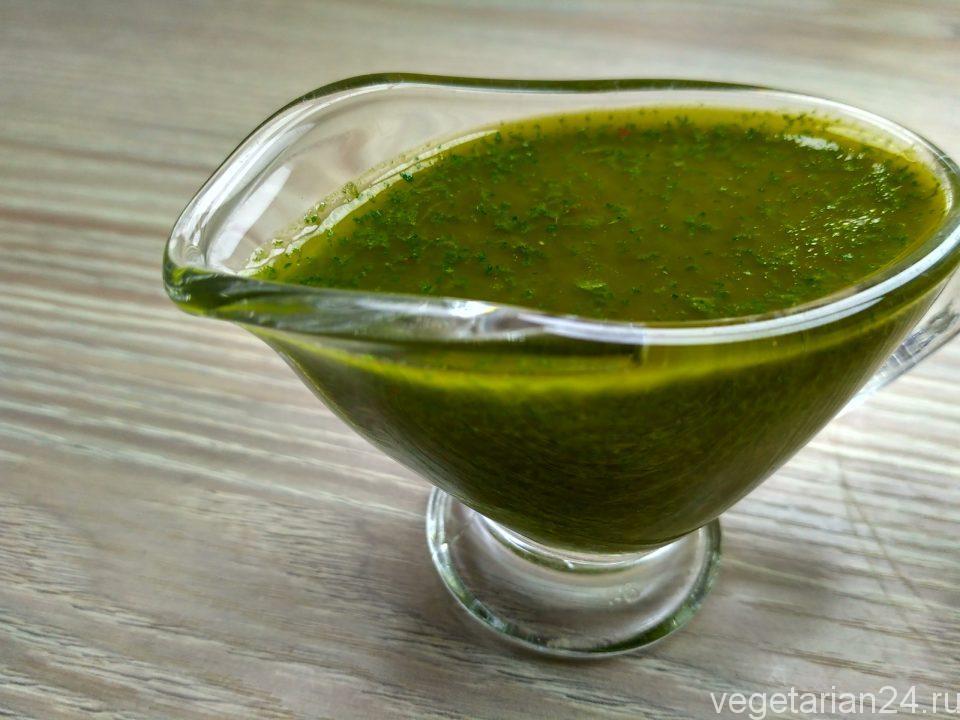 Зеленый соус из мяты (мятное чатни)