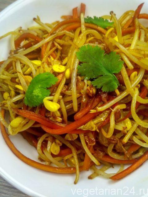 Постный веганский салат из соевых ростков