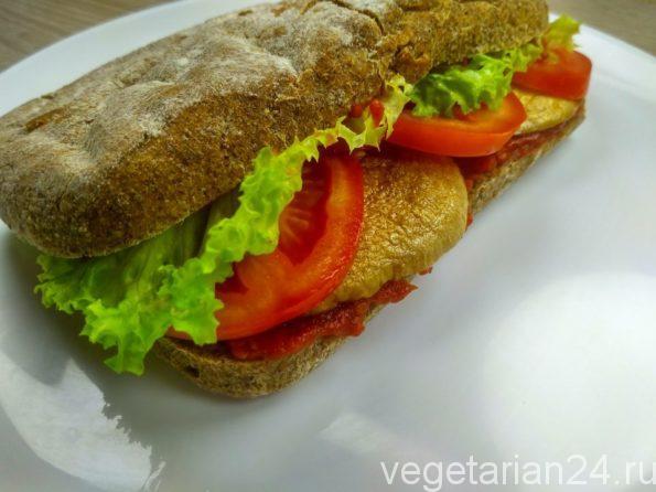 Постный веганский бутерброд с грибами
