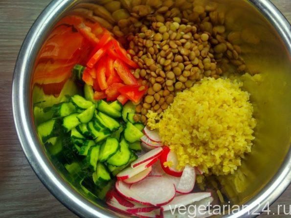 Готовим салат с булгуром и чечевицей