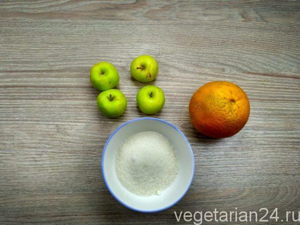 Ингредиенты для приготовления десерта из яблок
