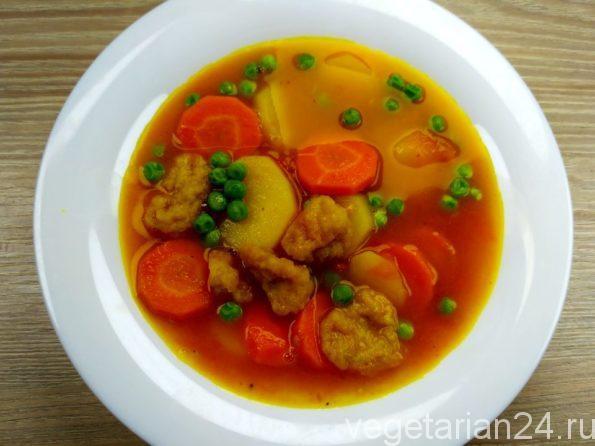 Постный суп с клецками